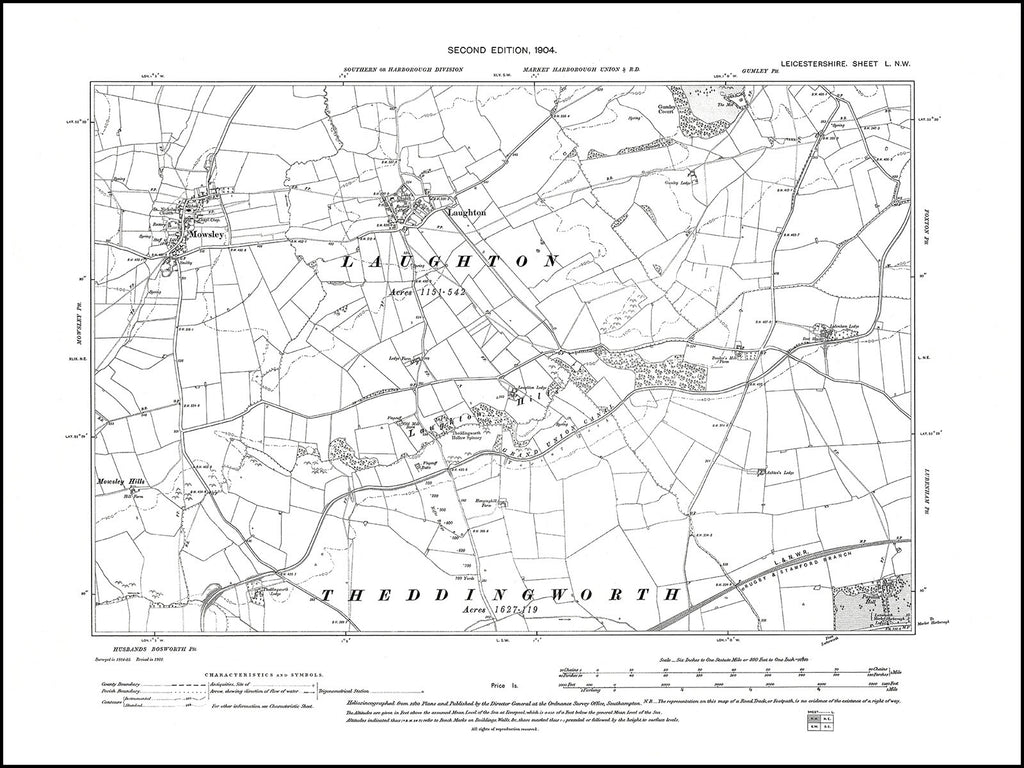Laughton, Mowsley, Leicestershire in 1904 : 50 NW