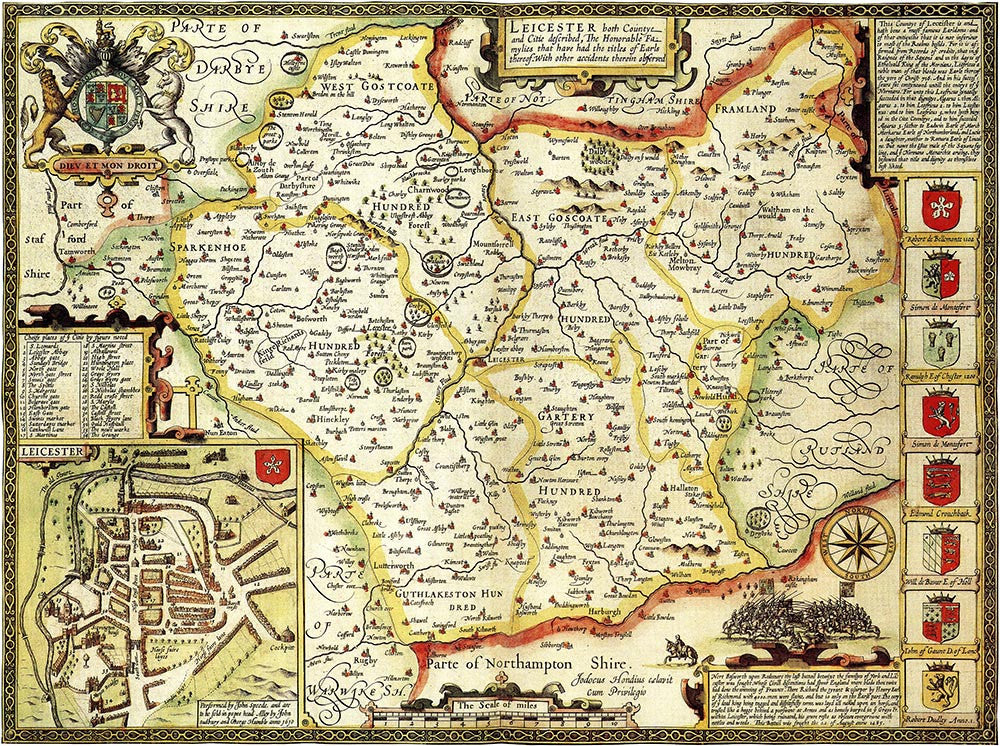 Leicestershire (John Speed 1610)