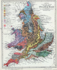 Geological Map of England & Wales, with Leading Railways by H. W. Barstow, 1883