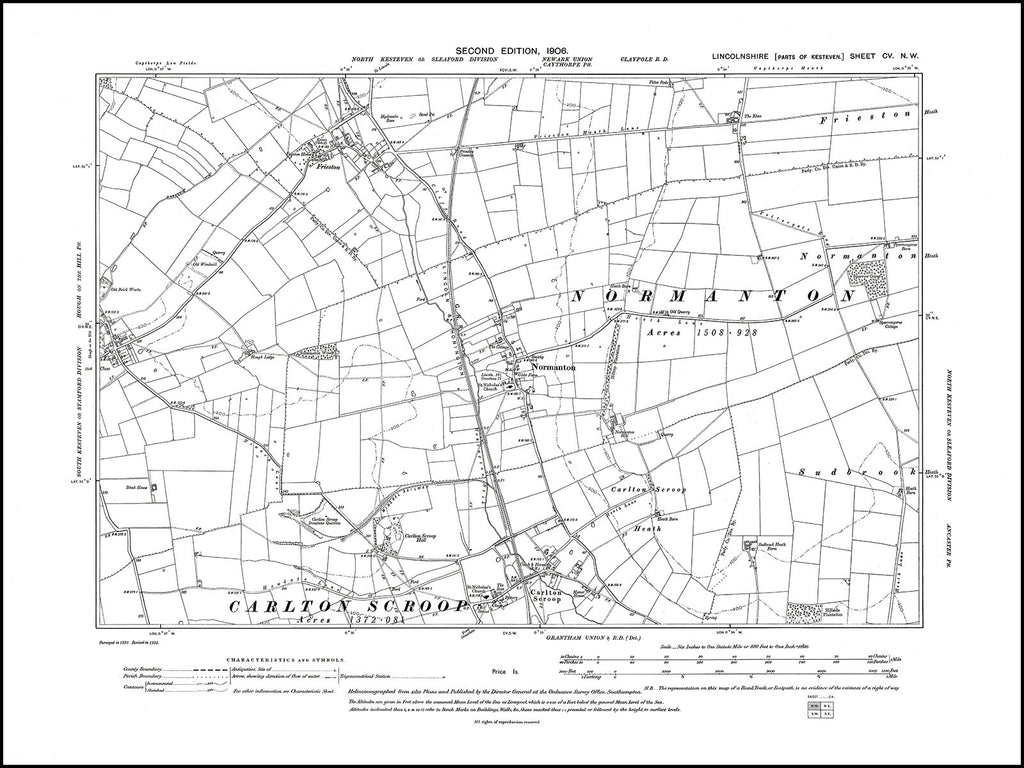 Normanton, Frieston, Carlton Scroop, Hough on the Hill (E), Lincolnshire in 1906 : 105NW