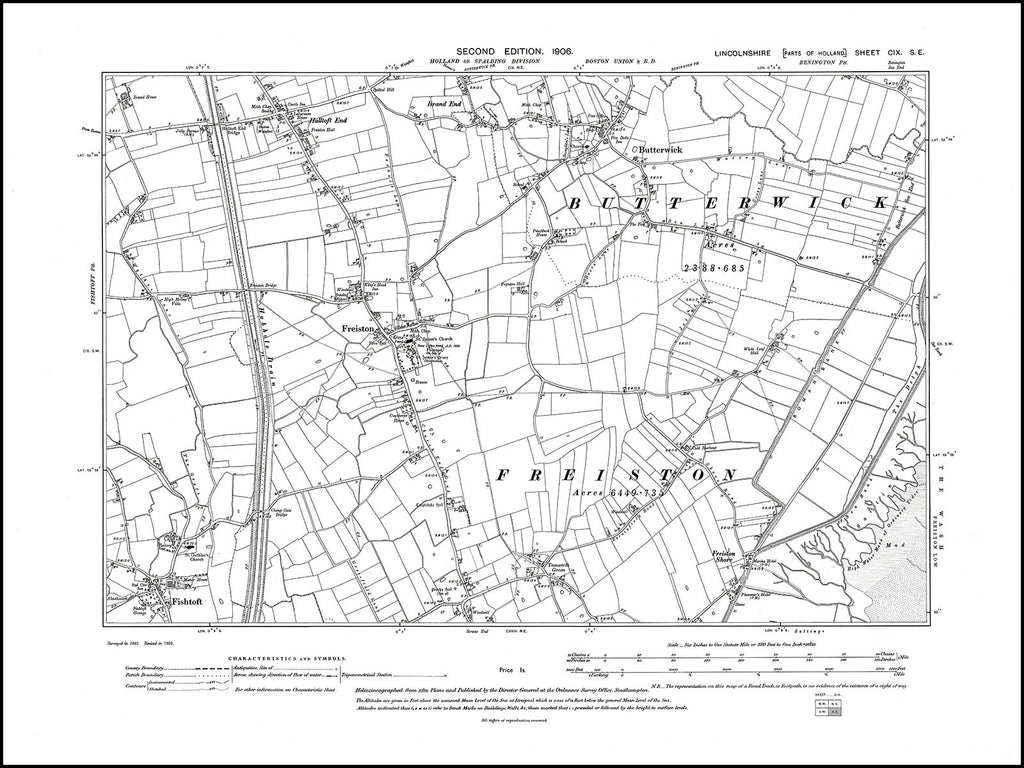 Butterwick, Freiston, Fishtoft, Halftoft End, Lincolnshire in 1906 : 109SE