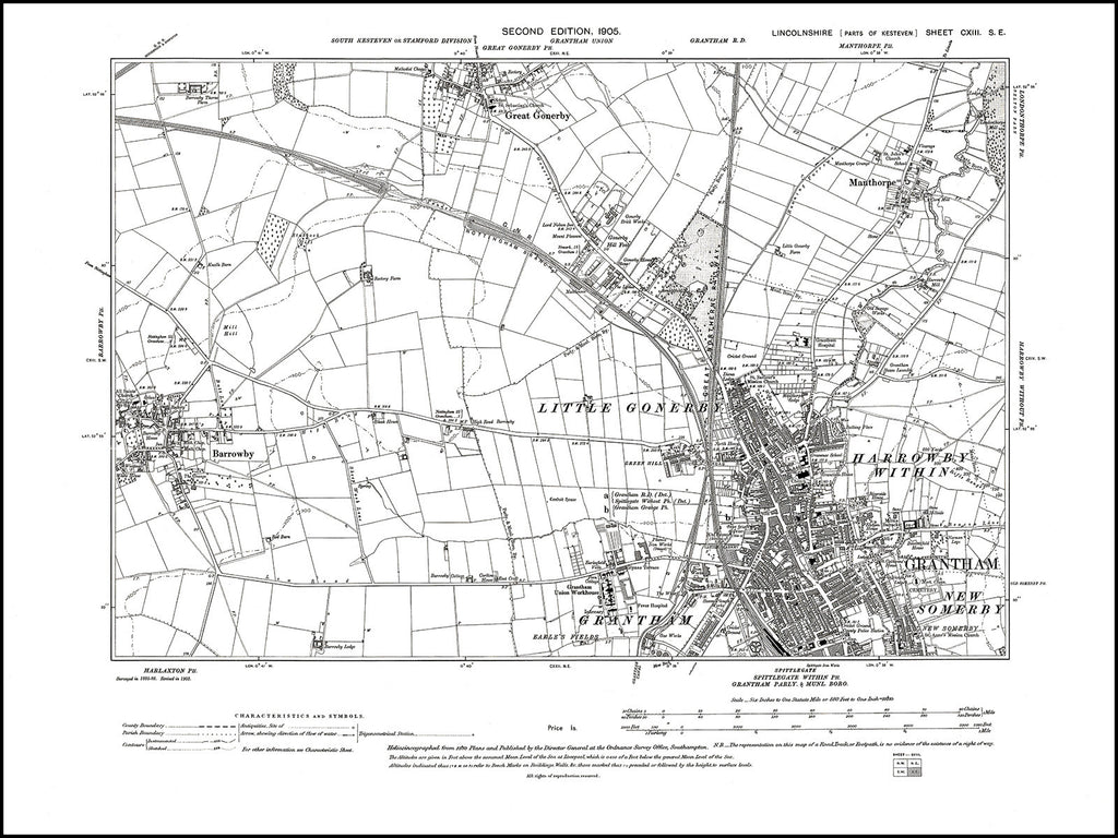 Grantham (N), Great Gonerby (S), Manthorpe, Barrowby, Lincolnshire in 1905 : 113SE