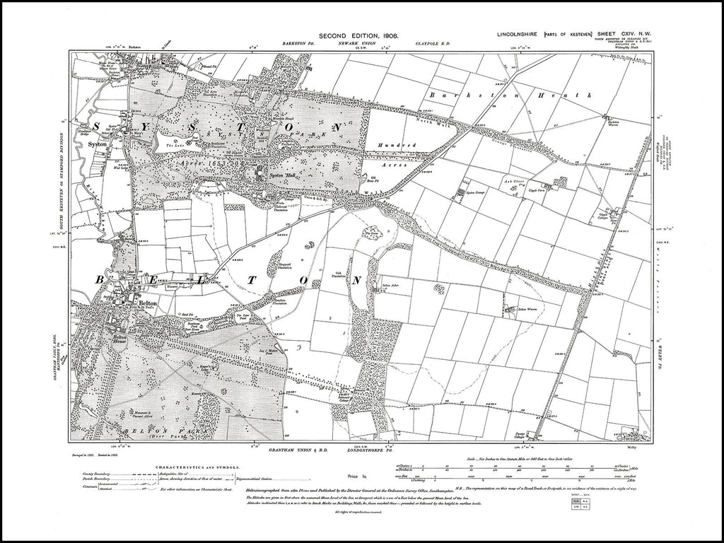 Belton, Syston, Lincolnshire in 1906 : 114NW