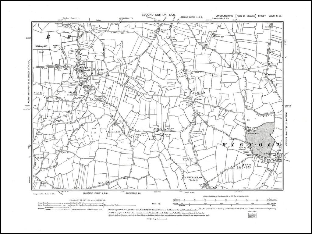 Bicker, Wigtoft (W), Lincolnshire in 1906 : 117SW