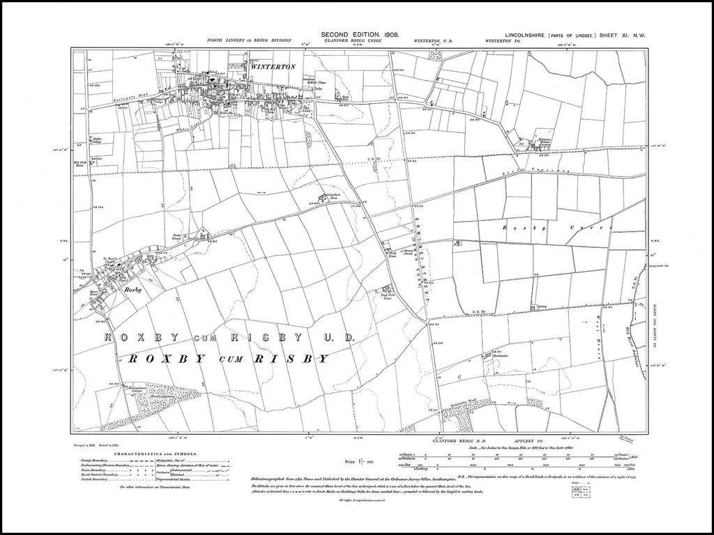 Winterton, Roxby, Lincolnshire in 1908 : 11NW