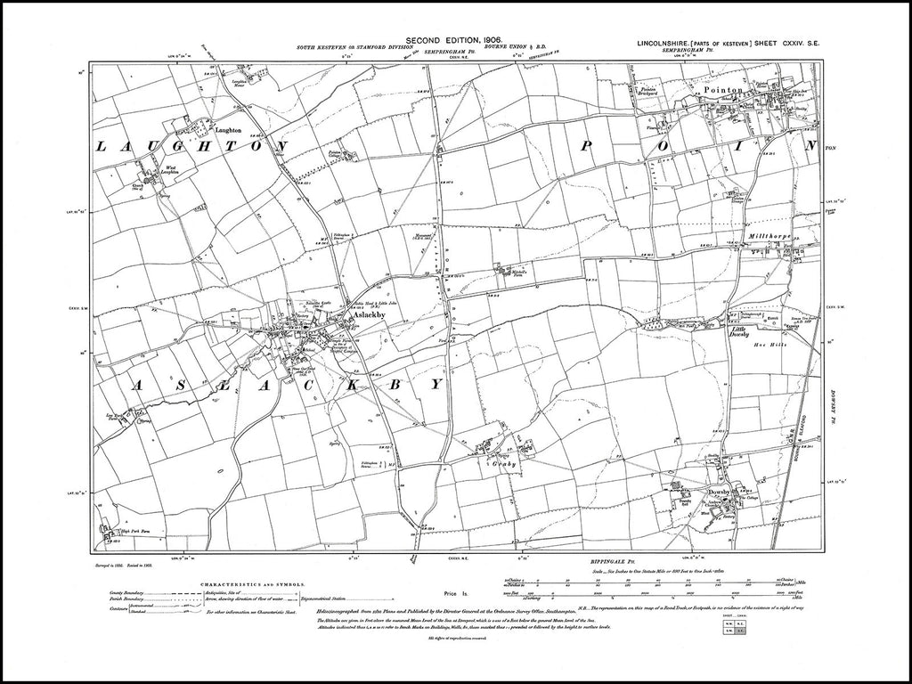 Aslackby, Pointon, Dowsby, Laughton, Lincolnshire in 1906 : 124SE