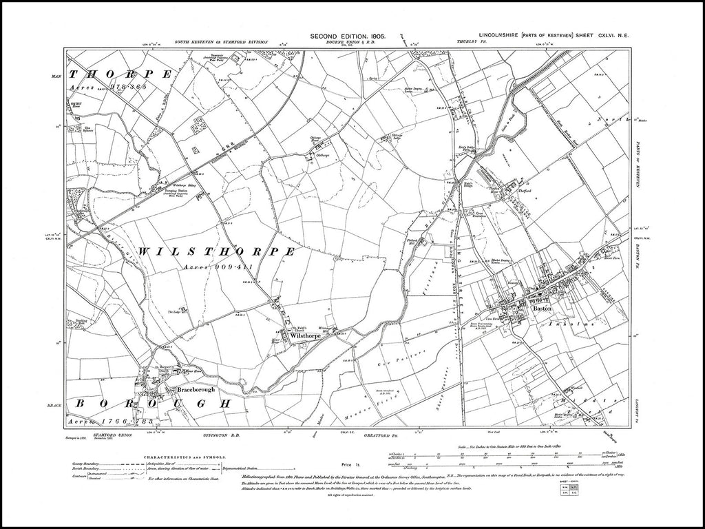 Baston, Braceborough, Wilsthorpe, Lincolnshire in 1905 : 146NE