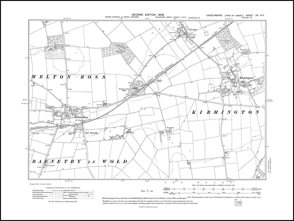 Kirmington, Melton Ross, Croxton, Lincolnshire in 1908 : 20NE