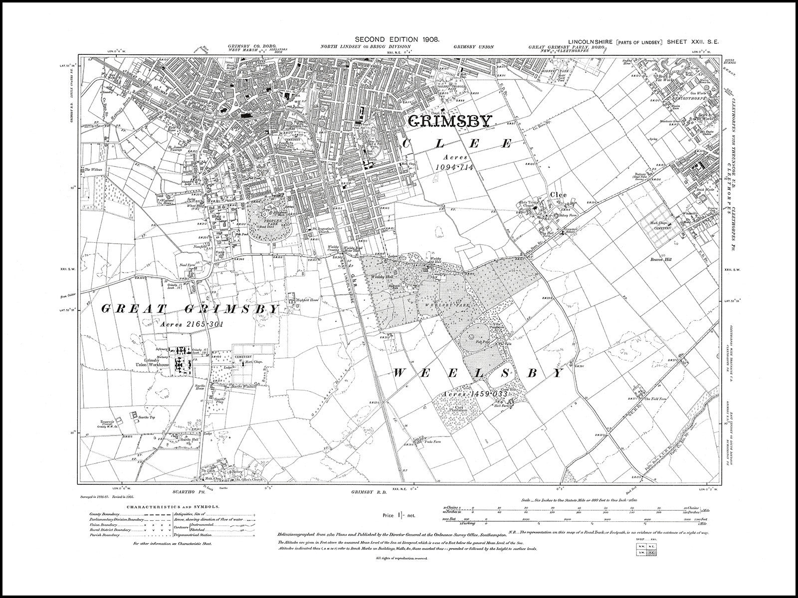 Old map 1908 Grimsby S Cleethorpes W Clee Old Towns Maps