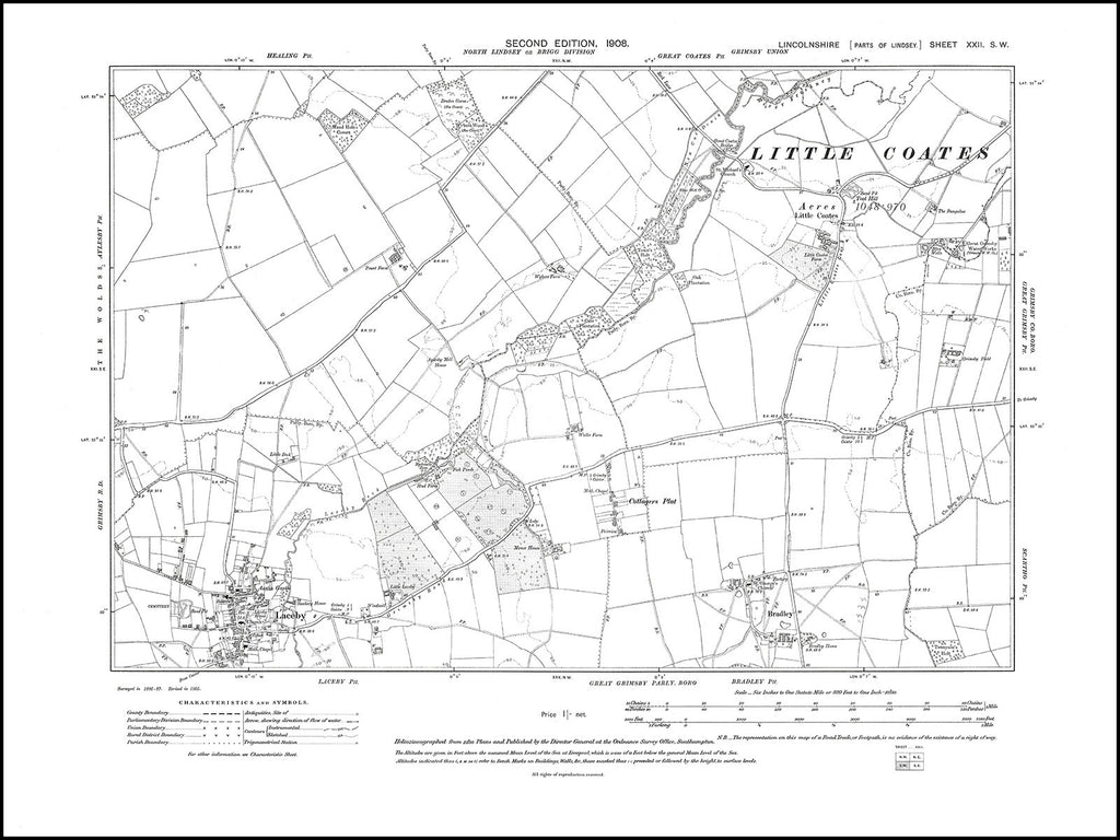 Laceby, Little Coates, Bradley, Cottagers Plat, Lincolnshire in 1908 : 22SW