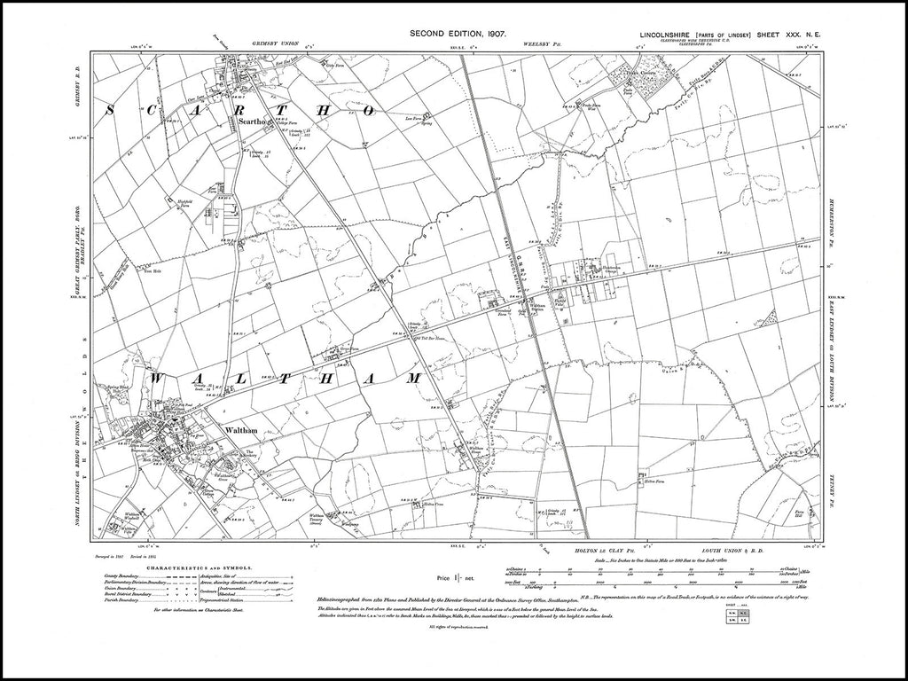 Waltham, Scartho (S), Lincolnshire in 1907 : 30NE