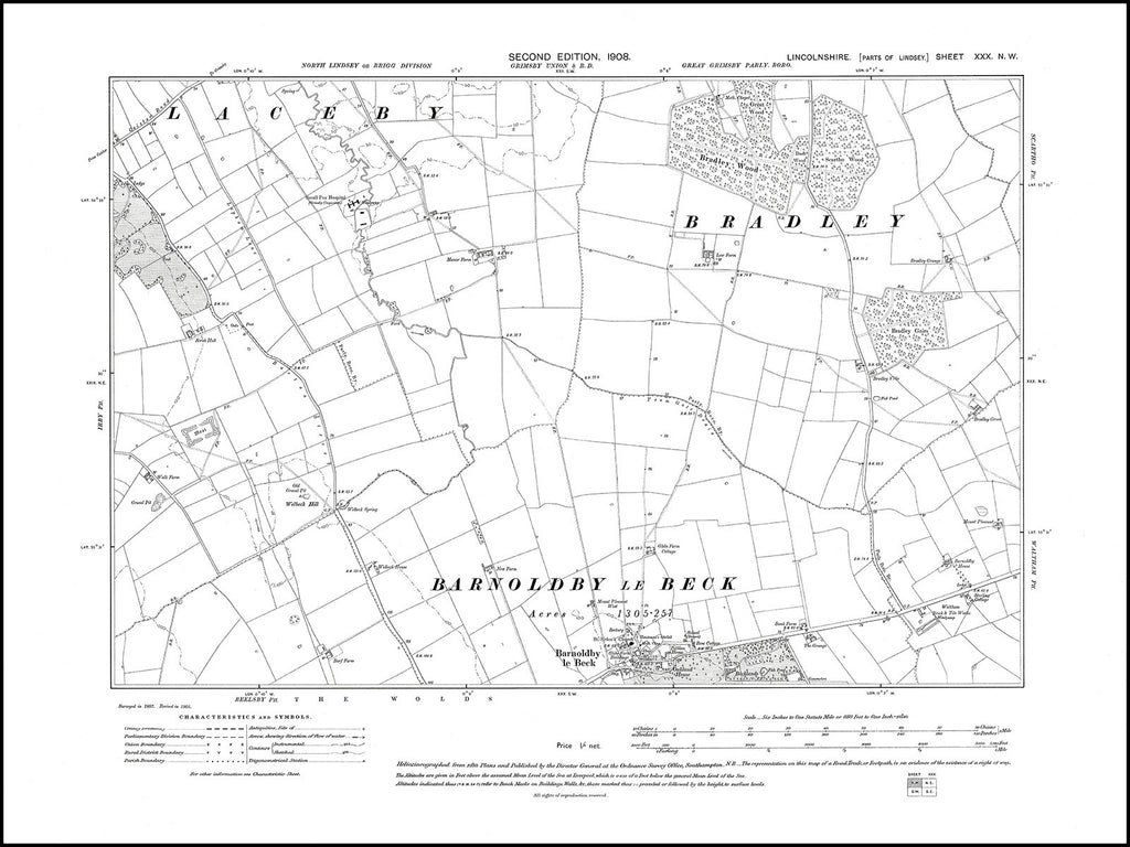 Barnoldby le Beck, Lincolnshire in 1908 : 30NW
