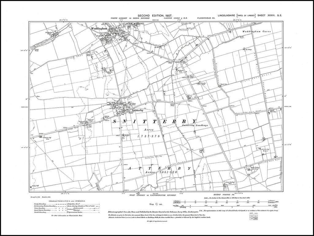 Snitterby, Waddingham (S), Lincolnshire in 1907 : 36SE