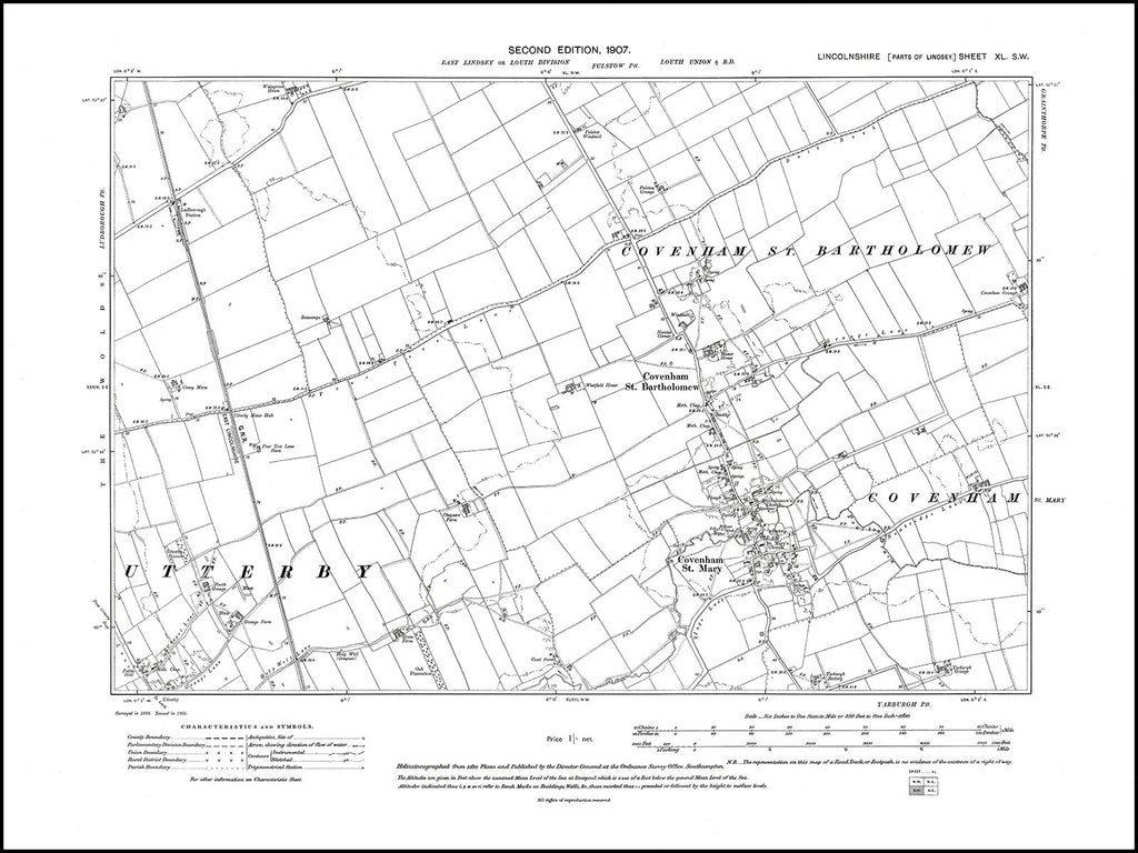 Covenham - St Bartholomew and St Mary, Utterby (N), Lincolnshire in 1907 : 40SW