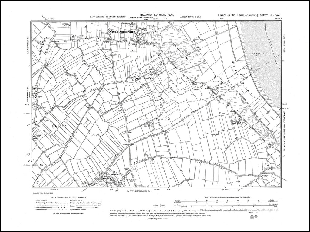 North Somercotes, South Somercotes, Conisholme (E), Lincolnshire in 1907 : 41SW