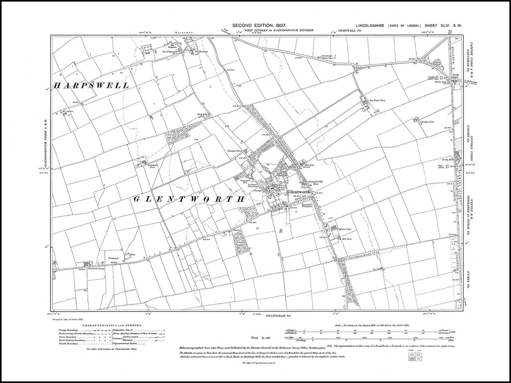 Glentworth, Harpswell (S), Caenby (W), Lincolnshire in 1907 : 44SW