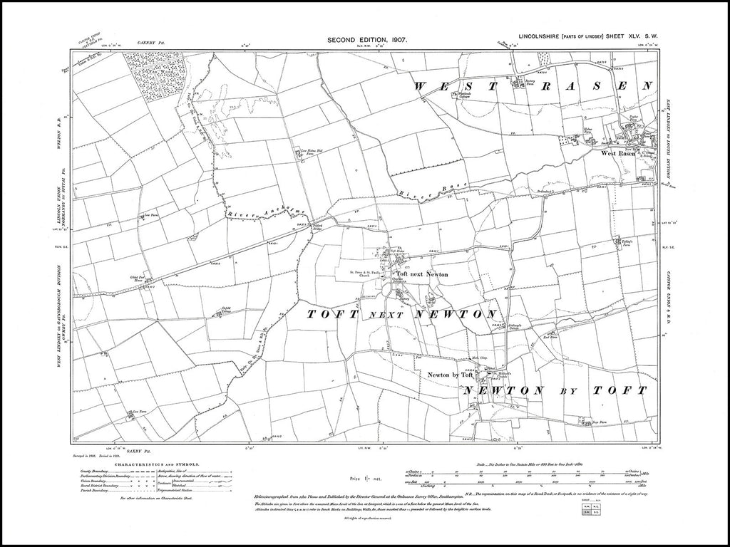 West Rasen (W), Toft next Newton, Newton by Toft, Lincolnshire in 1907 : 45SW