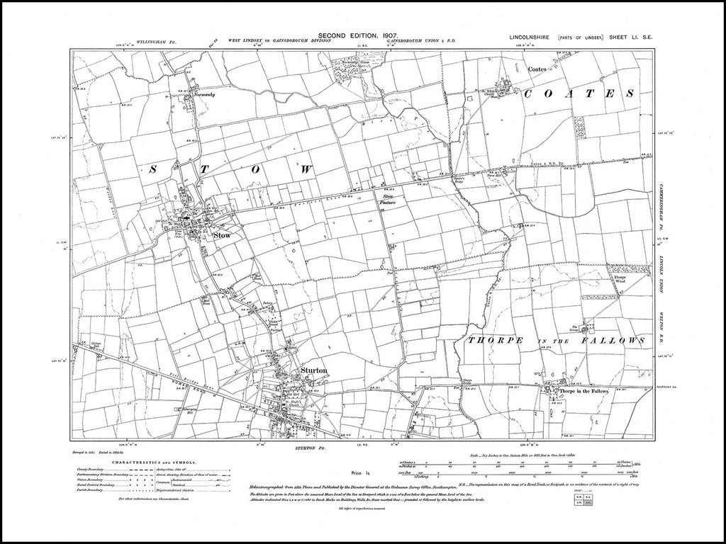 Stow, Sturton, Thorpe in the Fallows, Lincolnshire in 1907 : 51SE