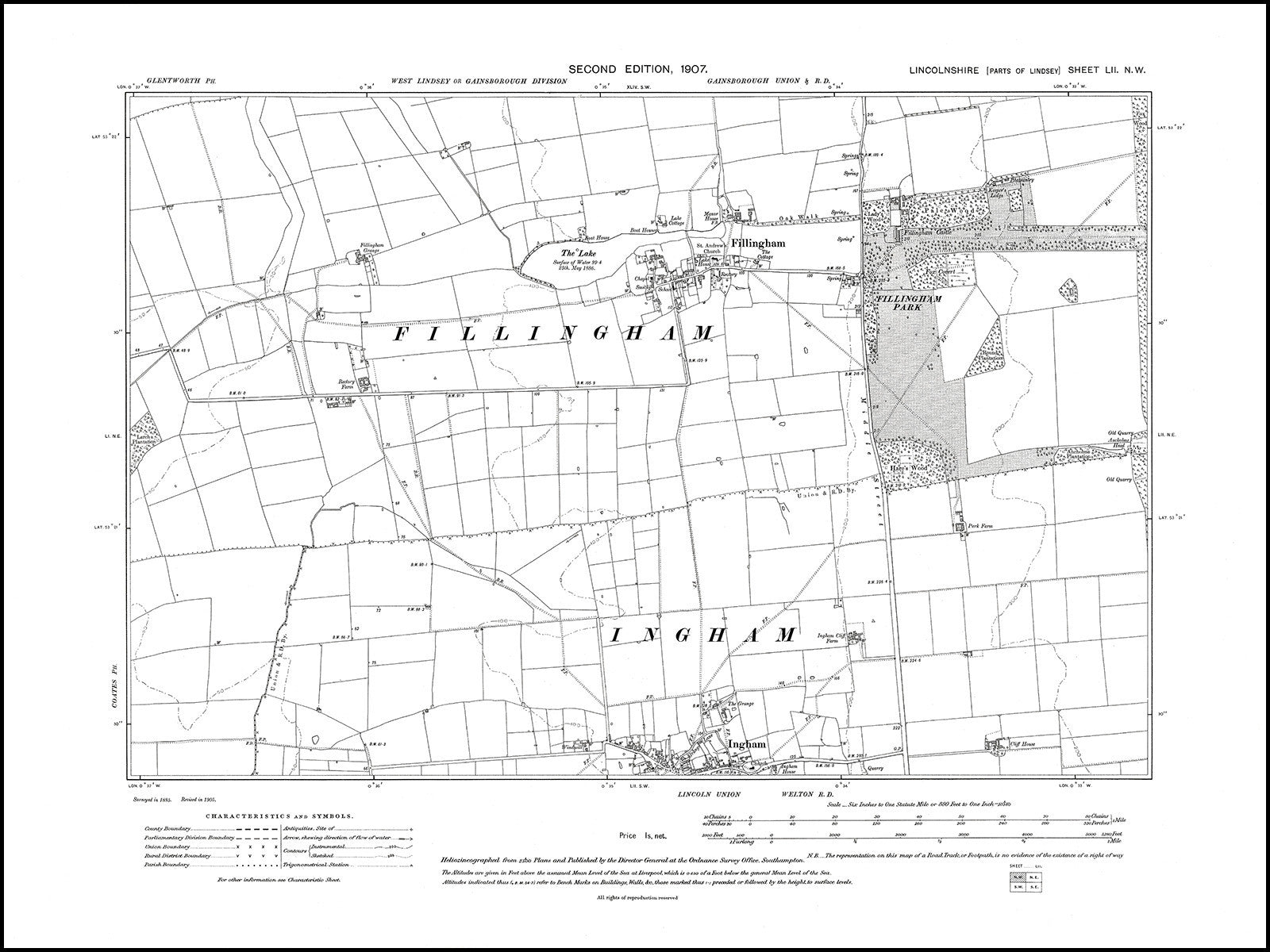 Fillingham 1907 Ingham N old map Lincolnshire 52NW repro