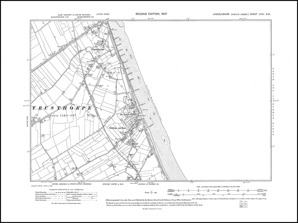 Sutton on Sea, Trusthorpe, Sutton le Marsh (N), Lincolnshire in 1907 : 58SW