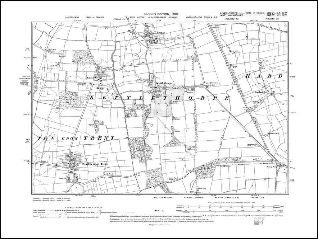 Fenton, Hardwick, Kettlethorpe, Newton upon Trent, Lincolnshire in 1906 : 60SW