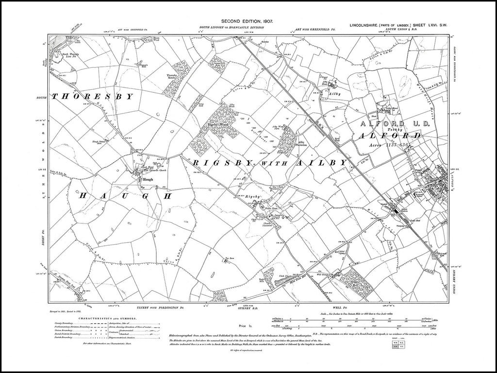 Alford (W), Haugh, Rigsby, Ailby, Lincolnshire in 1907 : 66SW