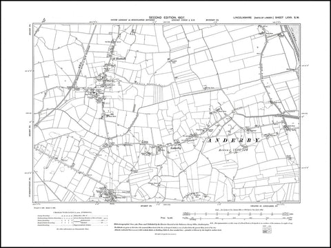 Anderby, Huttoft, Mumby (N), Lincolnshire in 1907 : 67SW