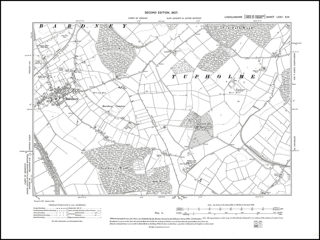 Bardney, Lincolnshire in 1907 : 72SW