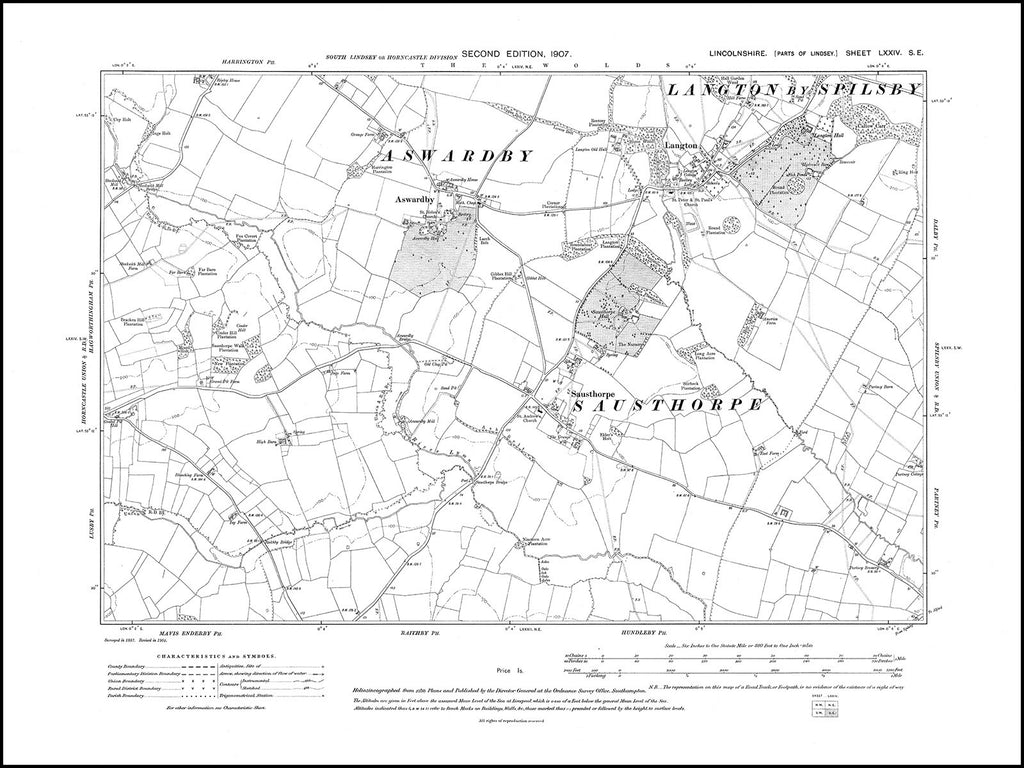 Aswardby, Langton, Sausthorpe, Lincolnshire in 1907 : 74SE