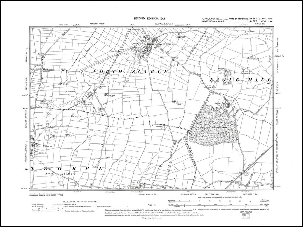 North Scarle, Lincolnshire in 1906 : 77NW