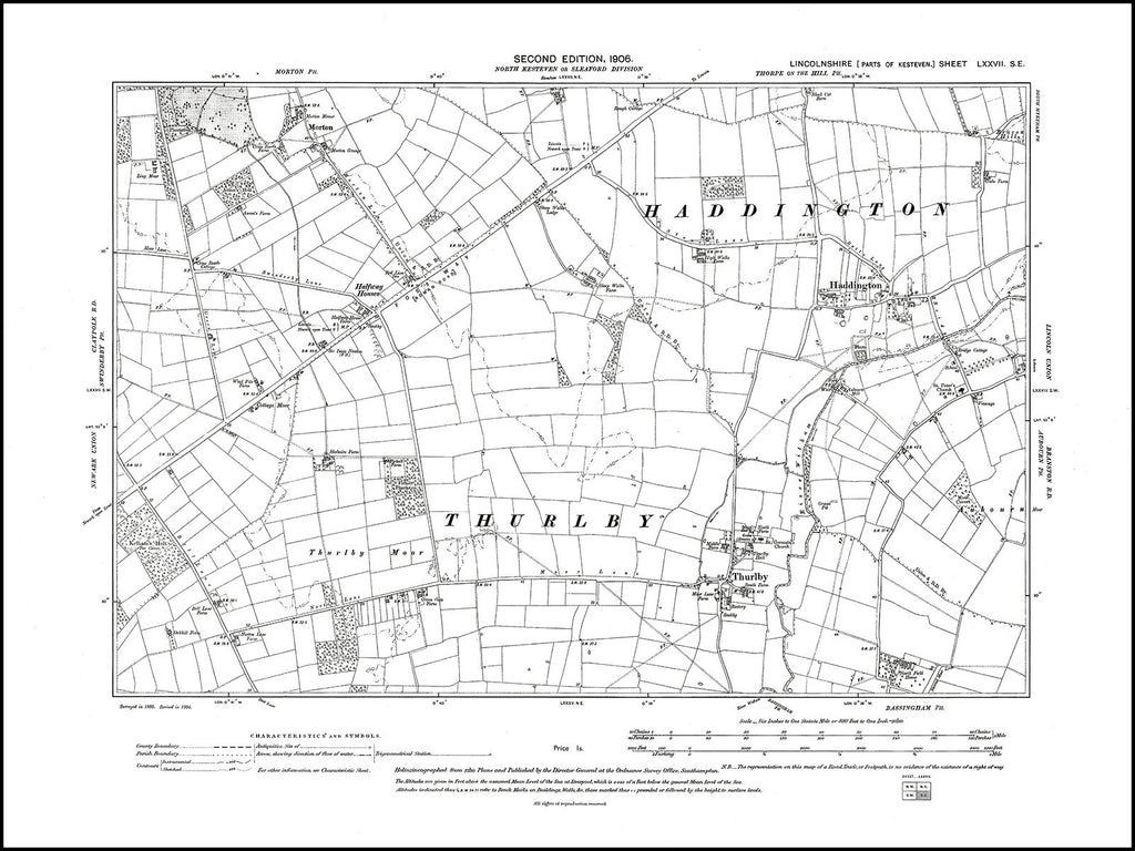 Haddington, Thurlby, Morton, Halfway Houses, Lincolnshire in 1906 : 77SE