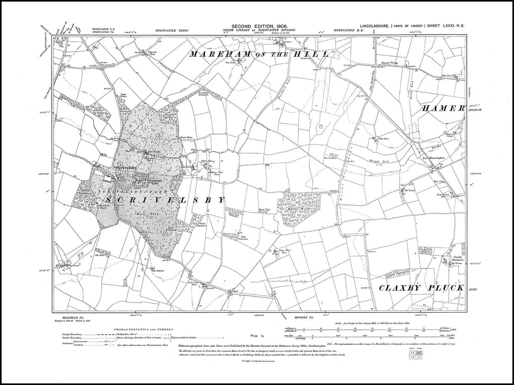 Mareham on the Hill (S), Scrivelsby, Hameringham (W), Lincolnshire in 1906 : 81NE