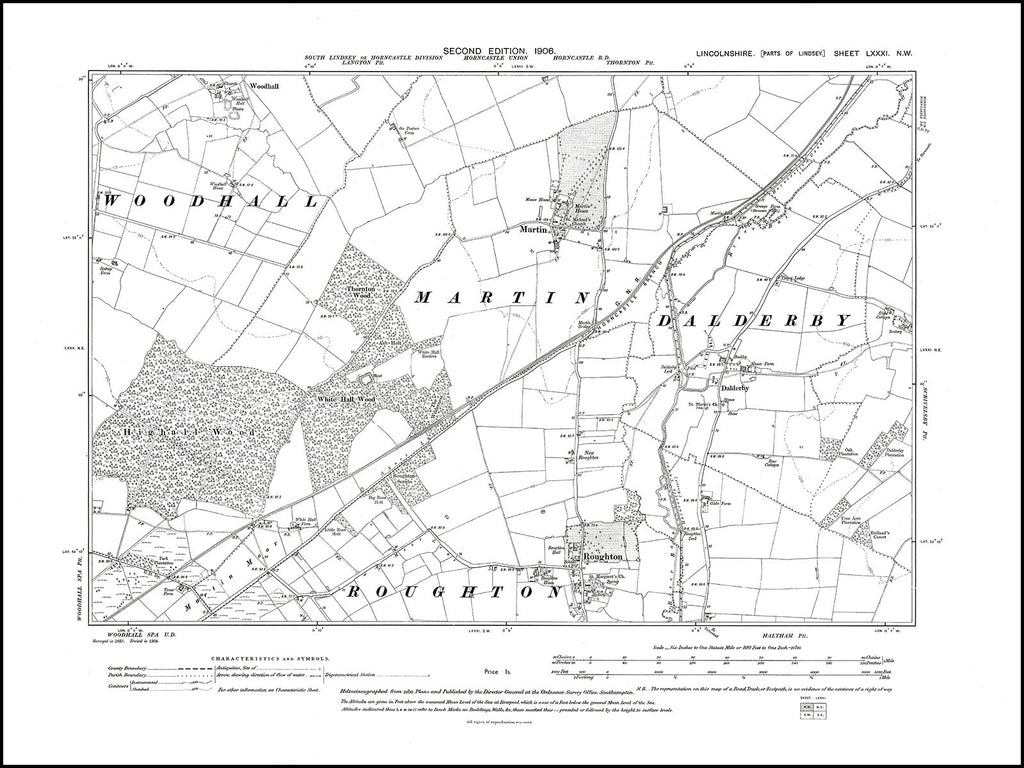 Martin, Dalderby, Roughton, Woodhall, Lincolnshire in 1906 : 81NW