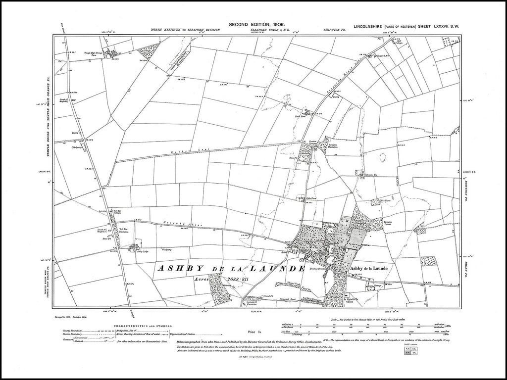 Ashby de la Launde, Lincolnshire in 1906 : 87SW