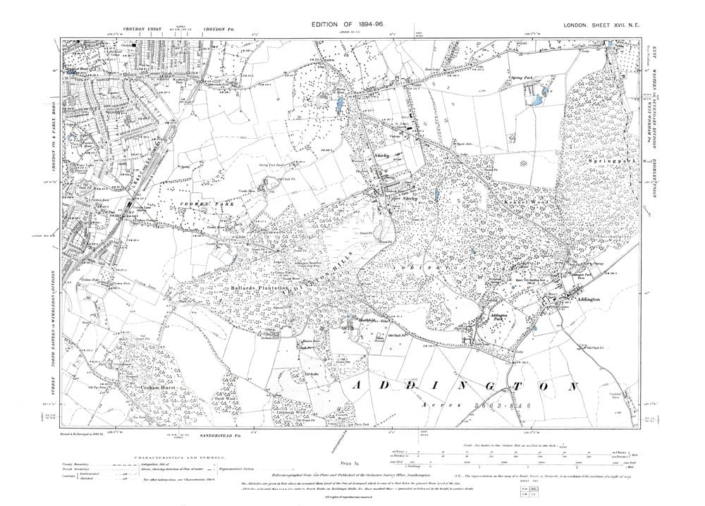 London 1896 17NE - Croydon (southeast), Shirley, Addington, Coombe Park