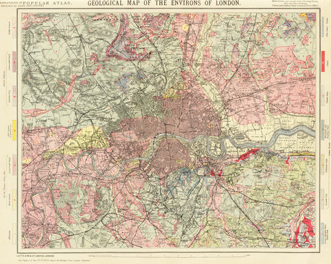 Geological Map of the Environs of London 1883