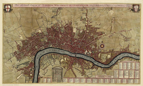 A Map of London, Westminster & Southwark in 1700 by Robert Morden