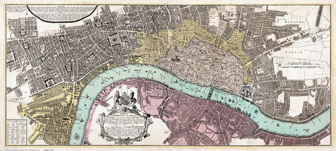 London, Westminster & Southwark by Homann in 1736