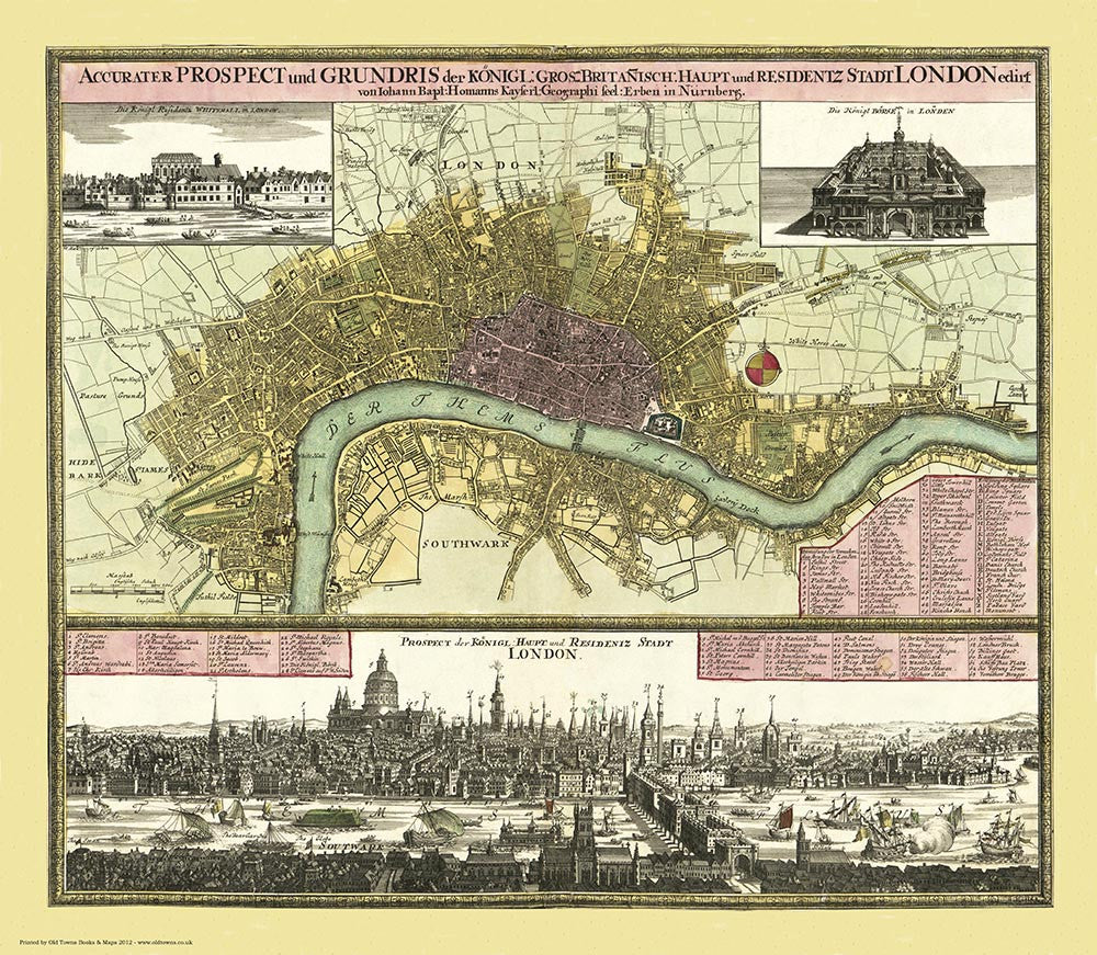 London 1740 by Johann Baptist Homann