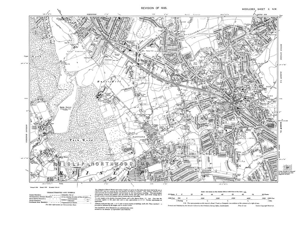 Pinner Green, West End, Eastcote, Northwood (S), Middlesex in 1935 (10-NW)