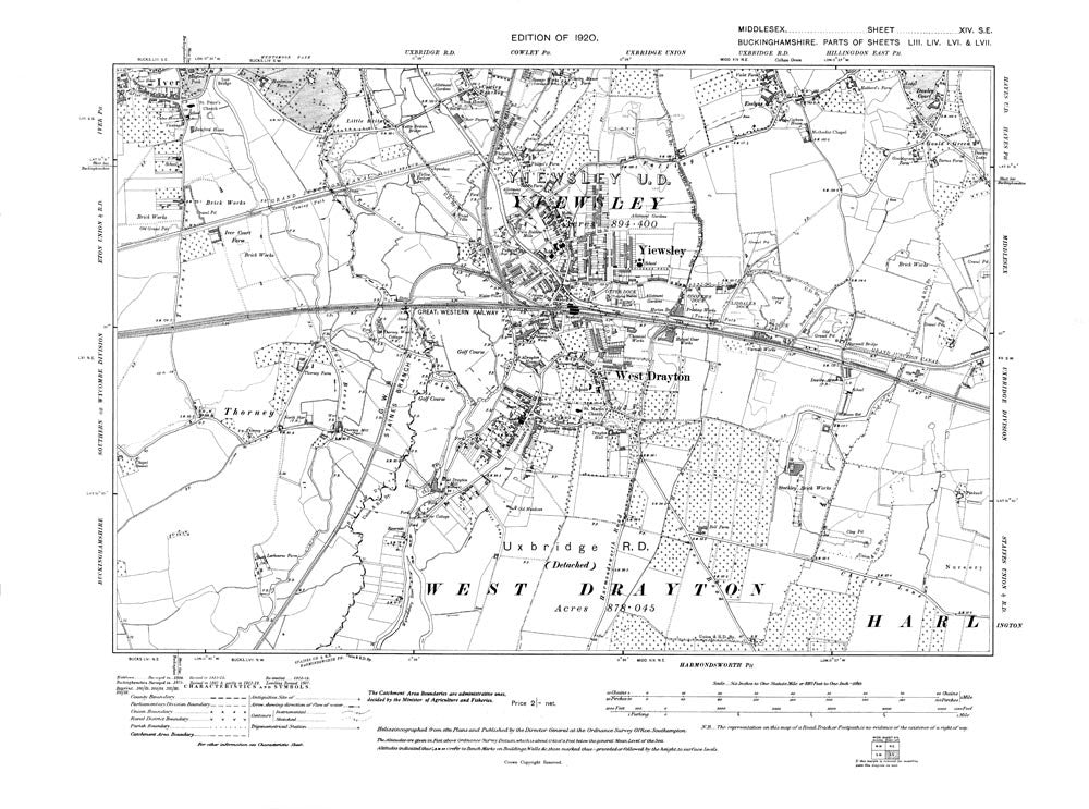 West Drayton, Yiewsley, Thorney, Middlesex in 1920 (14-SE)