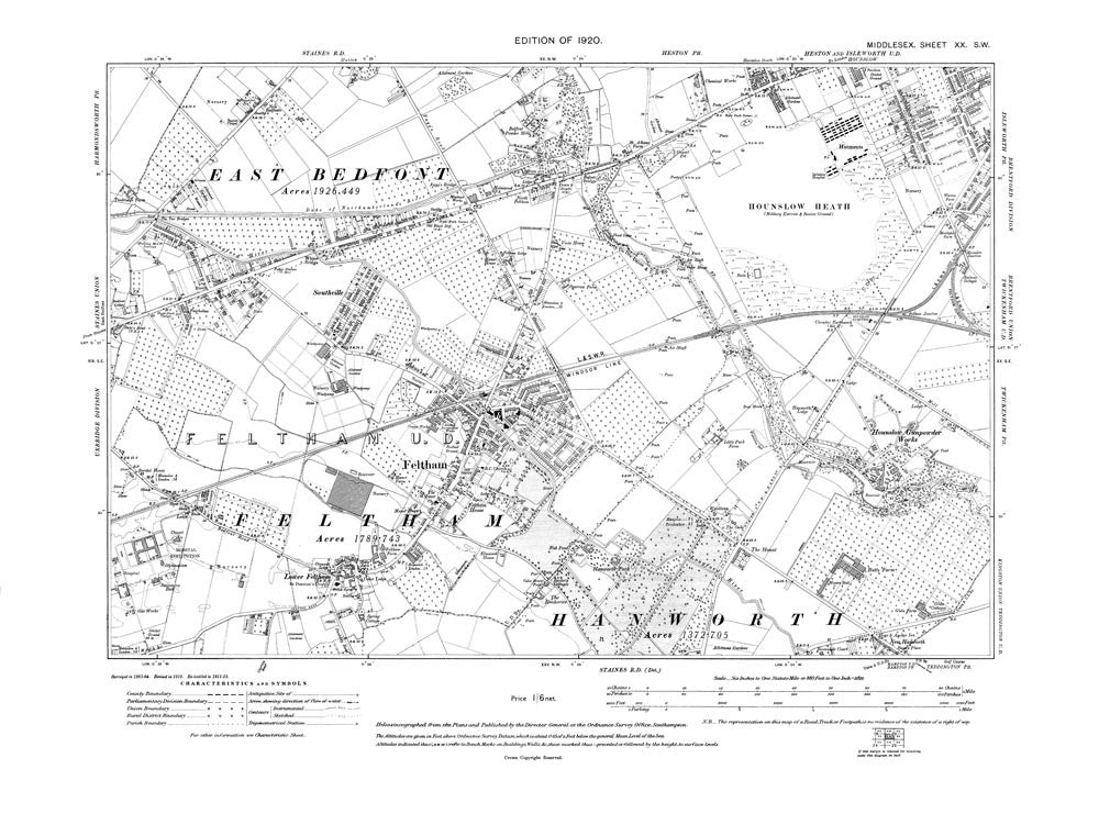 Feltham, Hounslow Heath, East Bedfont (E), Middlesex in 1920 (20-SW)