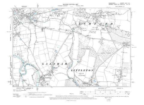 Ashford, Knowle Green, Laleham, Littleton (N), Middlesex in 1897 (24-NE)