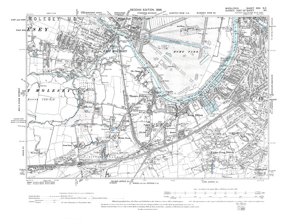Thames Ditton, East Molesey, West Molesey (E), Long Ditton, Surbiton (W), Hampton Court, Middlesex in 1898 (25-SE)