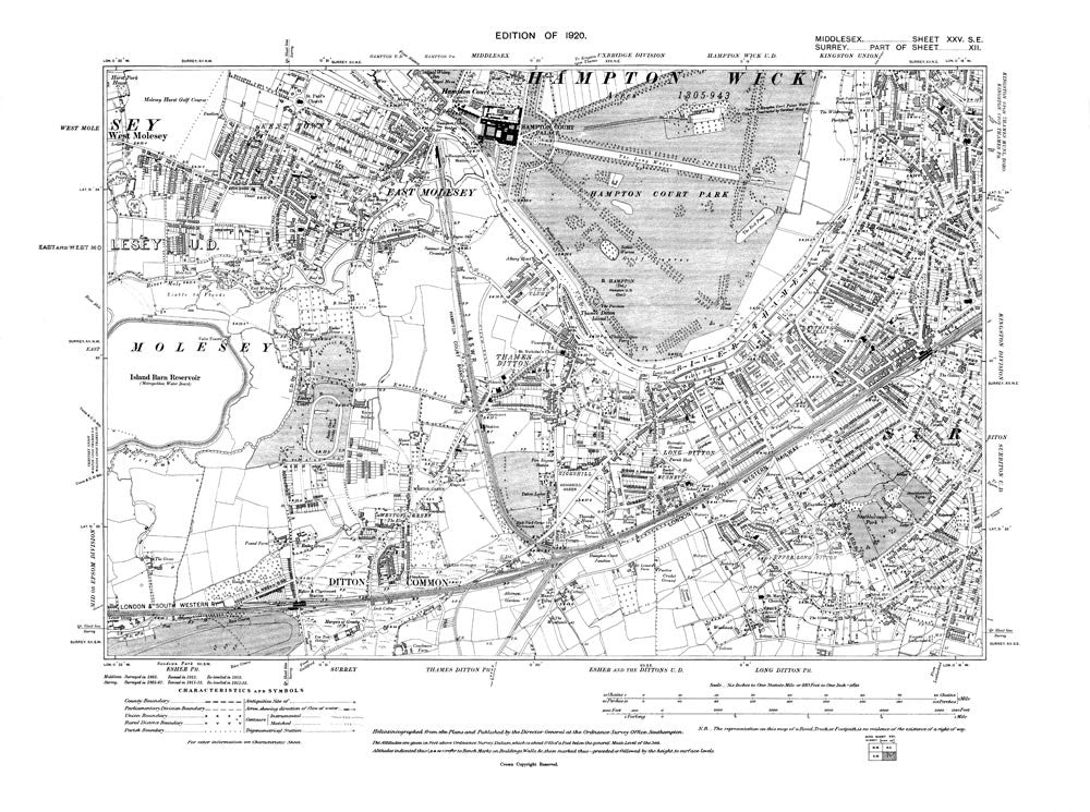 Thames Ditton, East Molesey, West Molesey (E), Long Ditton, Surbiton (W), Hampton Court, Middlesex in 1920 (25-SE)