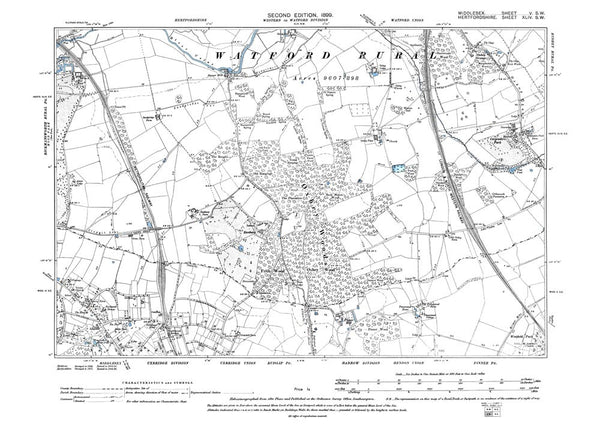 Old map of Northwood (north, site of), Middlesex in 1898