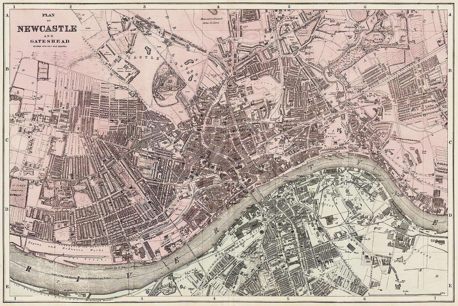 Newcastle Gateshead town plan 1890 Old Towns Maps