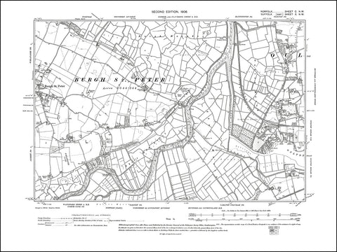 NORFOLK 100NW : old map of Burgh St Peter in 1906