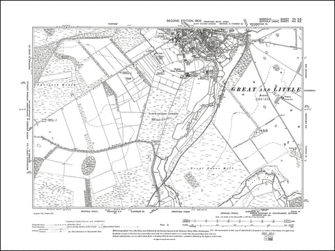 NORFOLK 102SE : old map of Thetford (south) in 1905