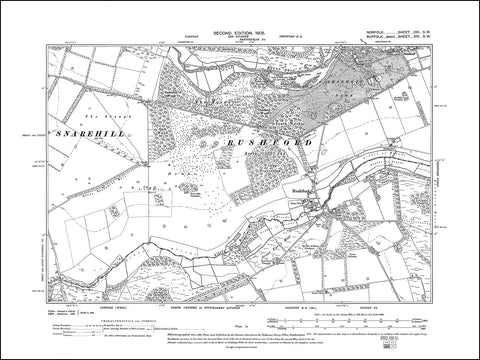 NORFOLK 103SW : old map of Rushford, Shadwell Park in 1905